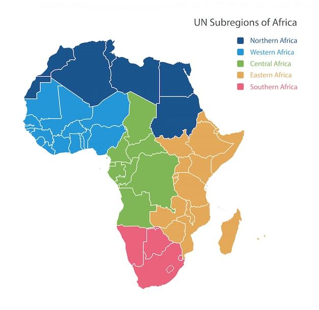 Kaart van unsd-regio's in afrika.