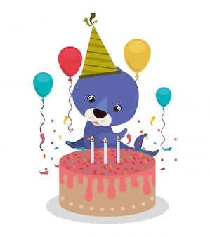 Kaart van verjaardagsviering met zegel