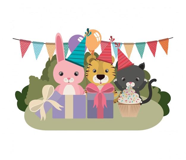 Kaart van viering met dieren