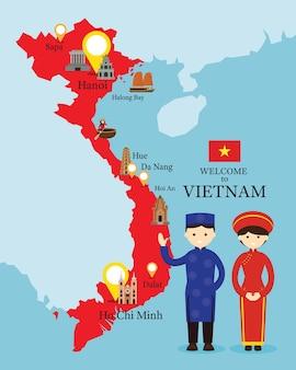 Kaart van vietnam en monumenten met mensen in traditionele kleding