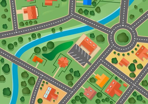 Kaart van voorstad dorp voor verkocht onroerend goed ontwerp