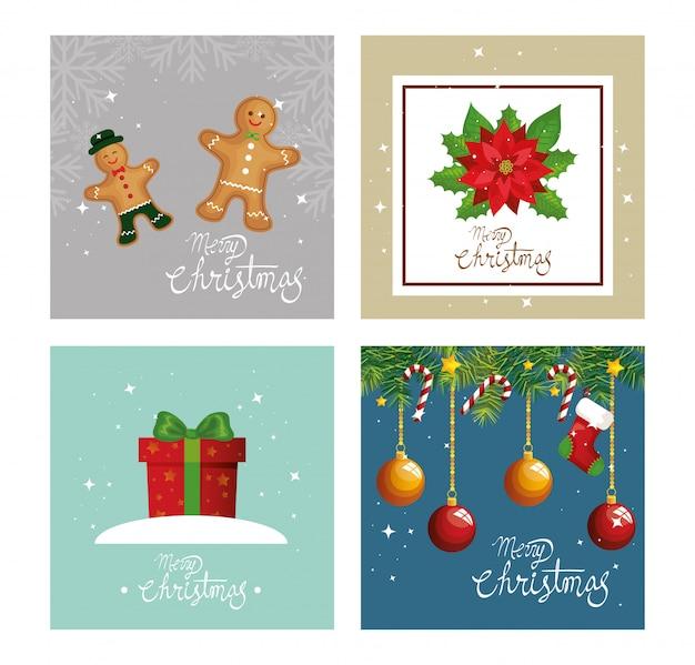 Kaart van vrolijk kerstfeest en decoratie instellen