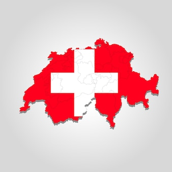 Kaart van zwitserland met stadsrand. vector