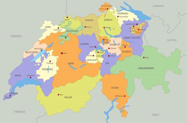 Kaart van zwitserland