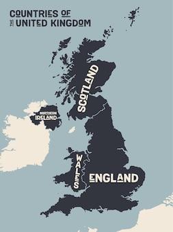 Kaart verenigd koninkrijk. posterkaart van landen van het verenigd koninkrijk.