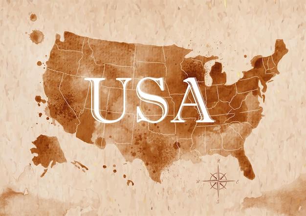 Kaart verenigde staten retro