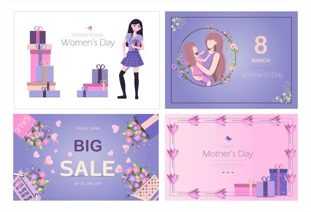 Kaart voor de internationale moederdag vectorillustratie voor maart met bloemen en groeten ba...