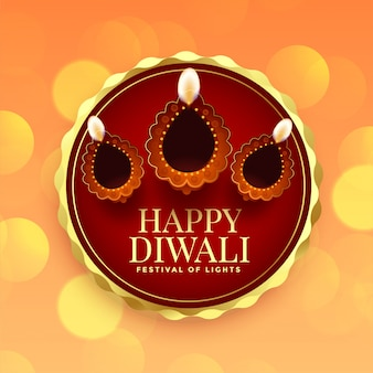 Kaart voor gelukkig diwali-festival met diya