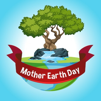 Kaart voor moeder aarde dag met grote boom op aarde