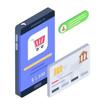 Kaartbetaling of isometrisch pictogram voor digitale betaling