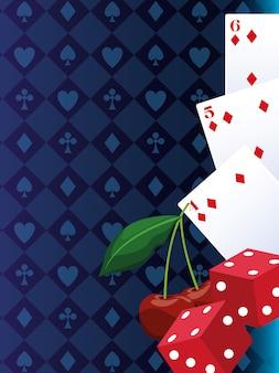 Kaarten dobbelstenen en kersen gokspel casino