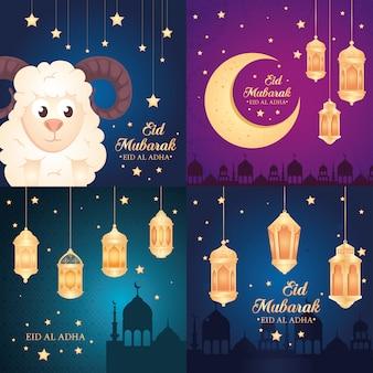 Kaarten, eid al adha mubarak, gelukkig offerfeest, met decoratie