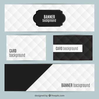 Kaarten en banners in zwarte en witte kleuren