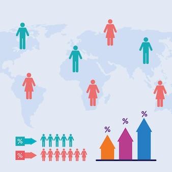 Kaarten en bevolkingsinfographic