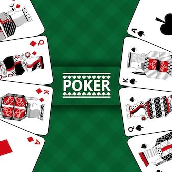 Kaarten gokken spelen poker en geruite groene achtergrond