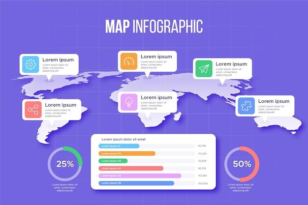 Kaarten infographics sjabloon