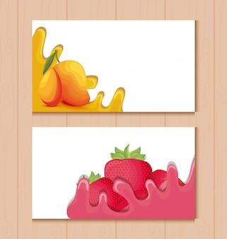 Kaarten met mango's en aardbeien