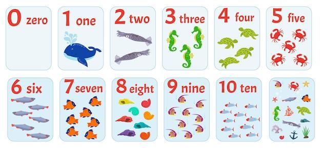 Kaarten met nummers van 1 tot 10 met zeeleven voor voorschoolse educatie, wiskundige berekening.