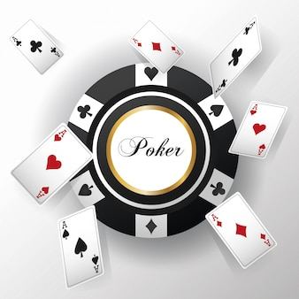 Kaarten met poker en chip pictogram. casino en las vegas-thema.