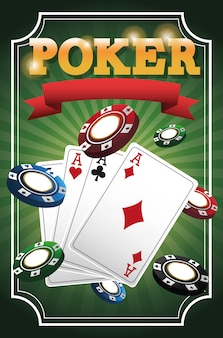 Kaarten met poker en fiches pictogram. casino en las vegas-thema.