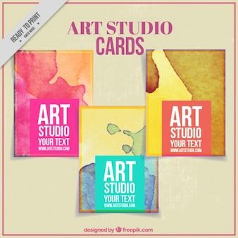 Kaarten met verfvlekken voor kunst studio