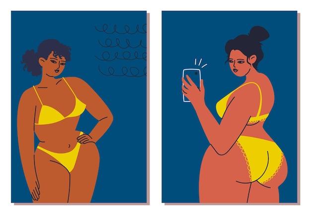 Kaarten met vrouw in een gele bikini een telefoon in de hand