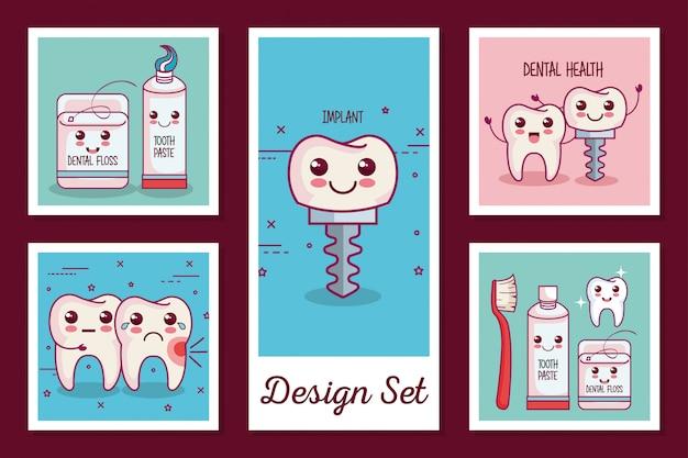 Kaarten set van tandheelkundige gezondheid iconen