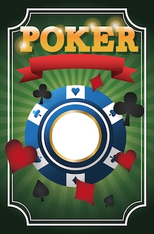 Kaarten symbolen en chip pictogram. poker casino en las vegas thema.