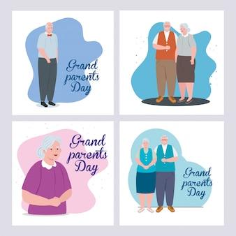 Kaarten van gelukkige grootouders dag met schattige oude mensen illustratie ontwerp instellen