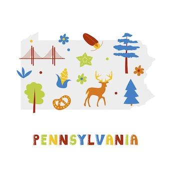 Kaartencollectie van de vs. staatssymbolen en natuur op grijs staatssilhouet - pennsylvania. cartoon eenvoudige stijl om af te drukken