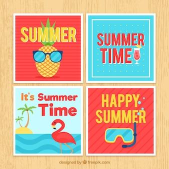 Kaartencollectie voor de zomer met strandelementen