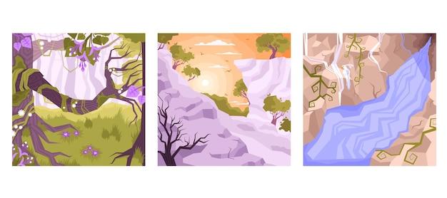 Kaartenset met drie vierkanten landschap