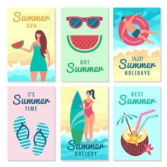 Kaartenset met zomerbericht en verschillende tekens