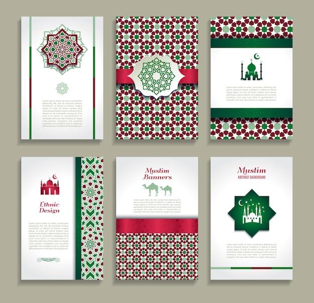 Kaartenset van etnisch ontwerp religie abstract set
