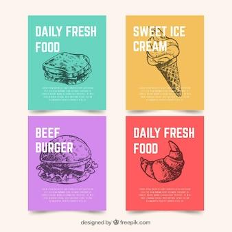 Kaartenverzameling met fast food