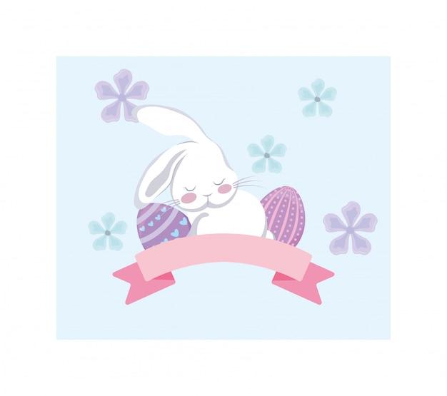 Kaartgroet met konijn en paaseieren