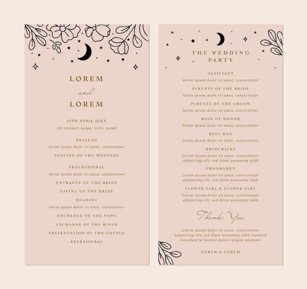 Kaartindeling voor bruiloftsprogramma's in sjabloon in vector met ontwerp op de achterkant
