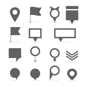 Kaartmarkering en speldinzameling vastgestelde vectorillustratie