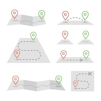 Kaartmarkeringen en platte kaart icon set