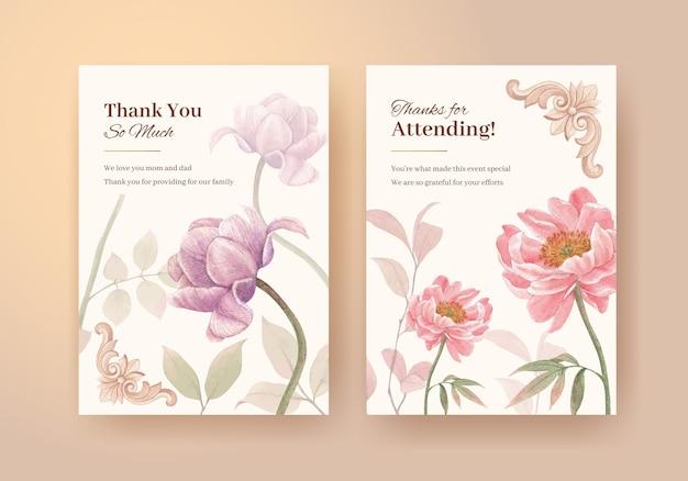 Kaartsjabloon met cottagecore-bloemenconcept, aquarelstijl