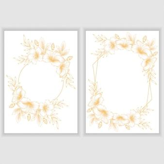 Kaartsjabloon met gouden hibiscus bloemenframe