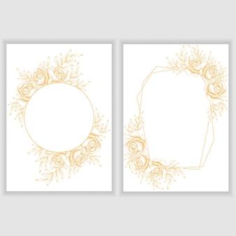 Kaartsjabloon met gouden roos bloemen frame
