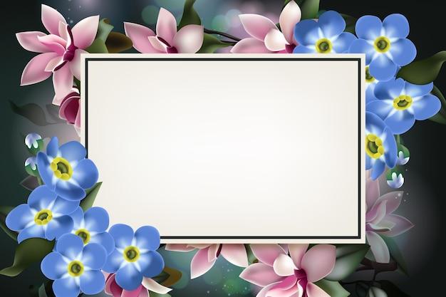 Kaartsjabloon met mooie bloem illustratie