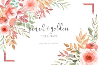 Kaartsjabloon met perzik en gouden bloemen en bladeren