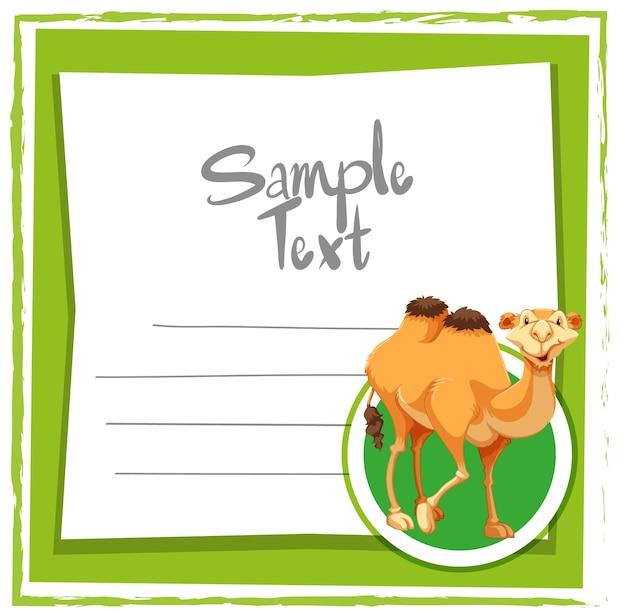 Kaartsjabloon met schattige kameel