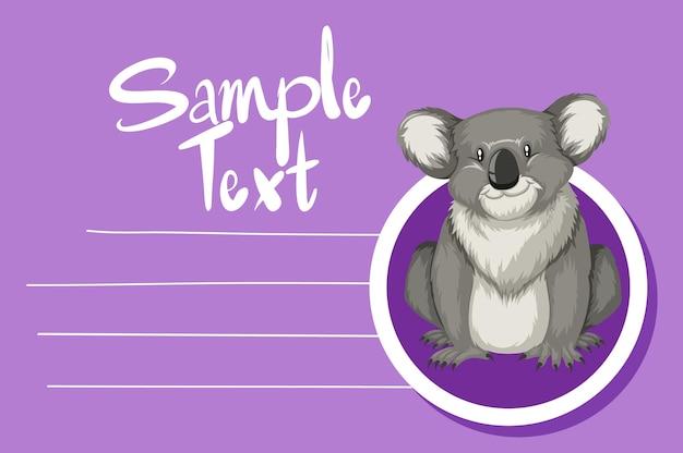 Kaartsjabloon met schattige koala