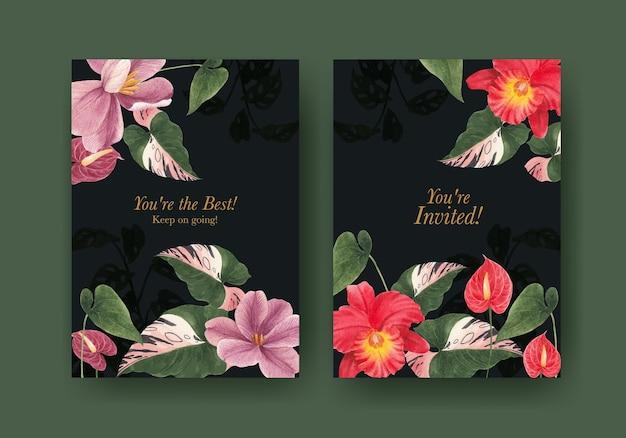 Kaartsjabloon met tropische plantkunde concept, aquarel stijl