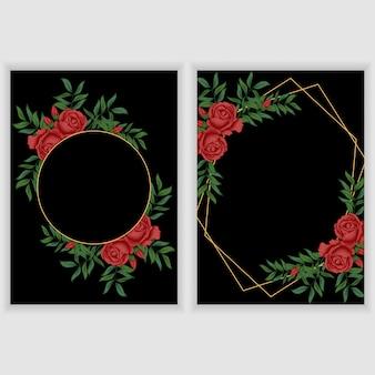 Kaartsjabloon met vintage floral frame