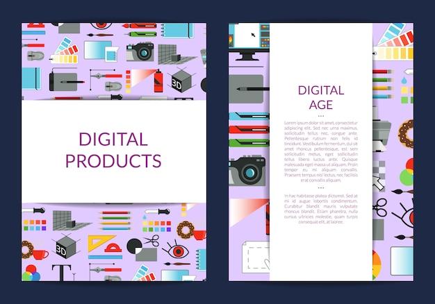 Kaartsjabloon voor lessen in het digitale kunstontwerp of studio met linten met schaduwen