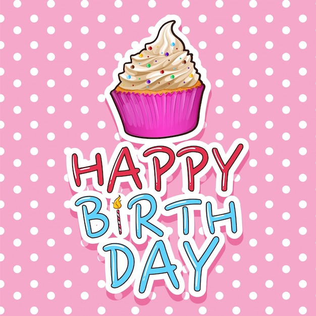 Kaartsjabloon voor verjaardag met cupcake